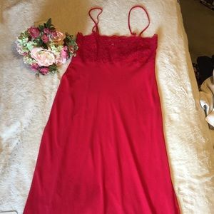 Red with lace long sheer night gown large